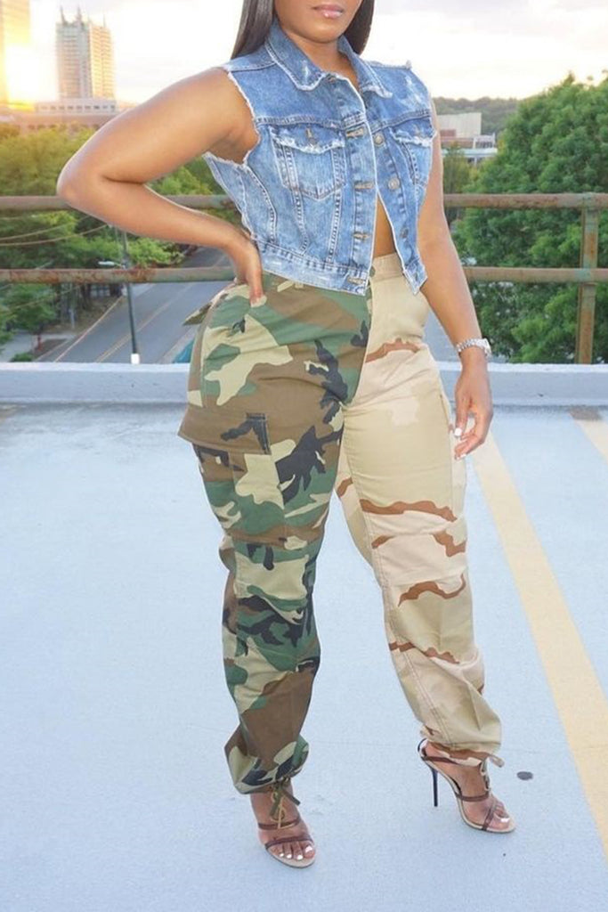 Camouflage Spliced Pocket Plus Size Pants