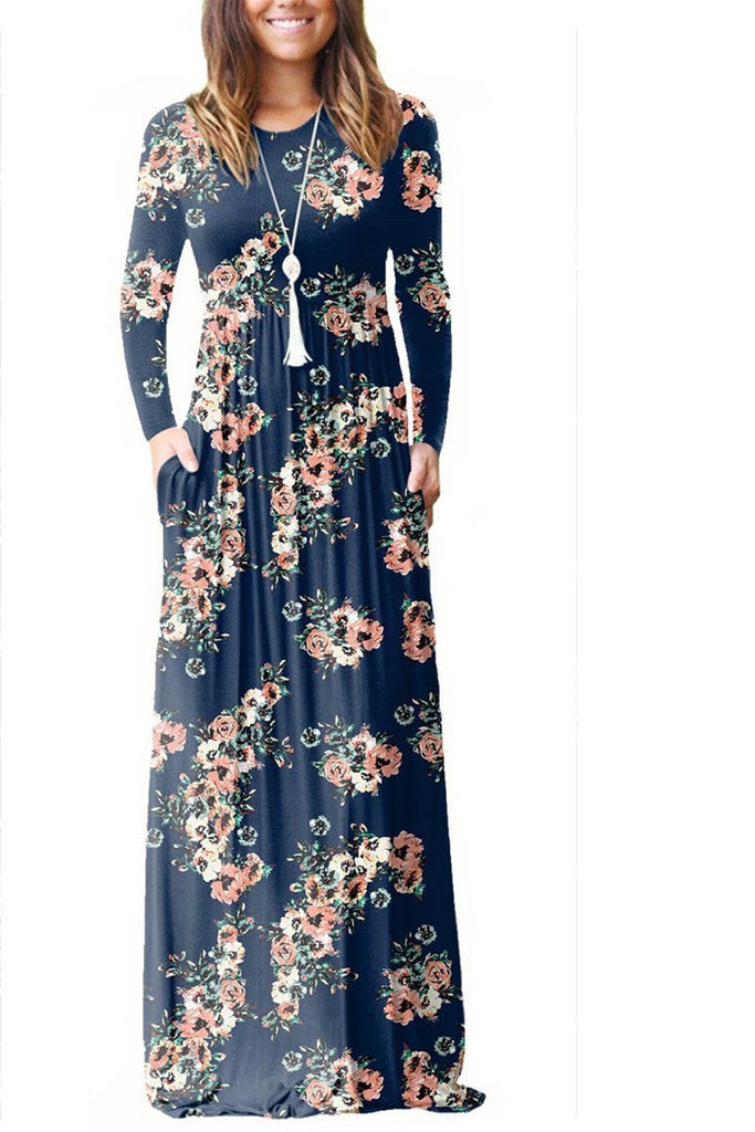 Flower Print Long Sleeve Pocket Maxi Dress