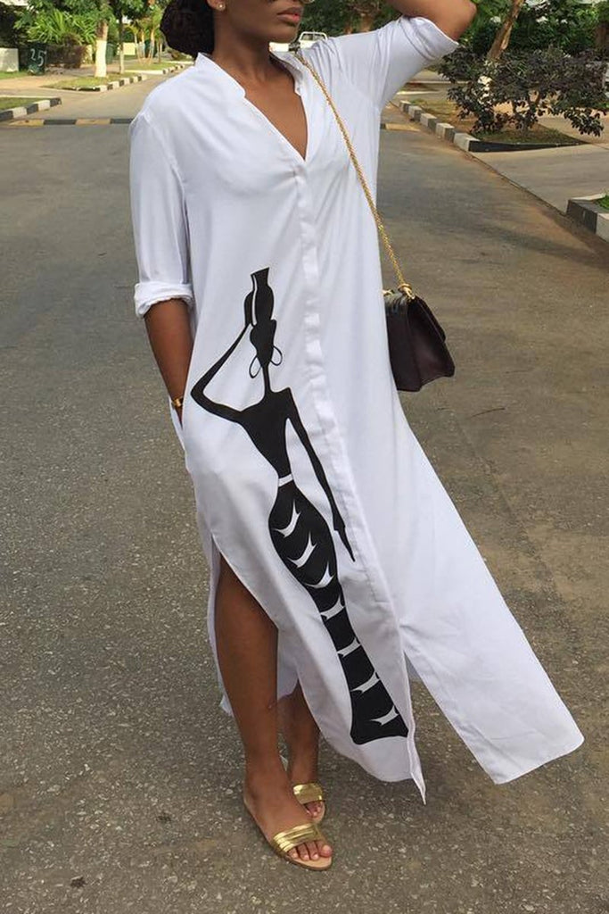 V-Neck Solid Color Pocket Shirt Dress