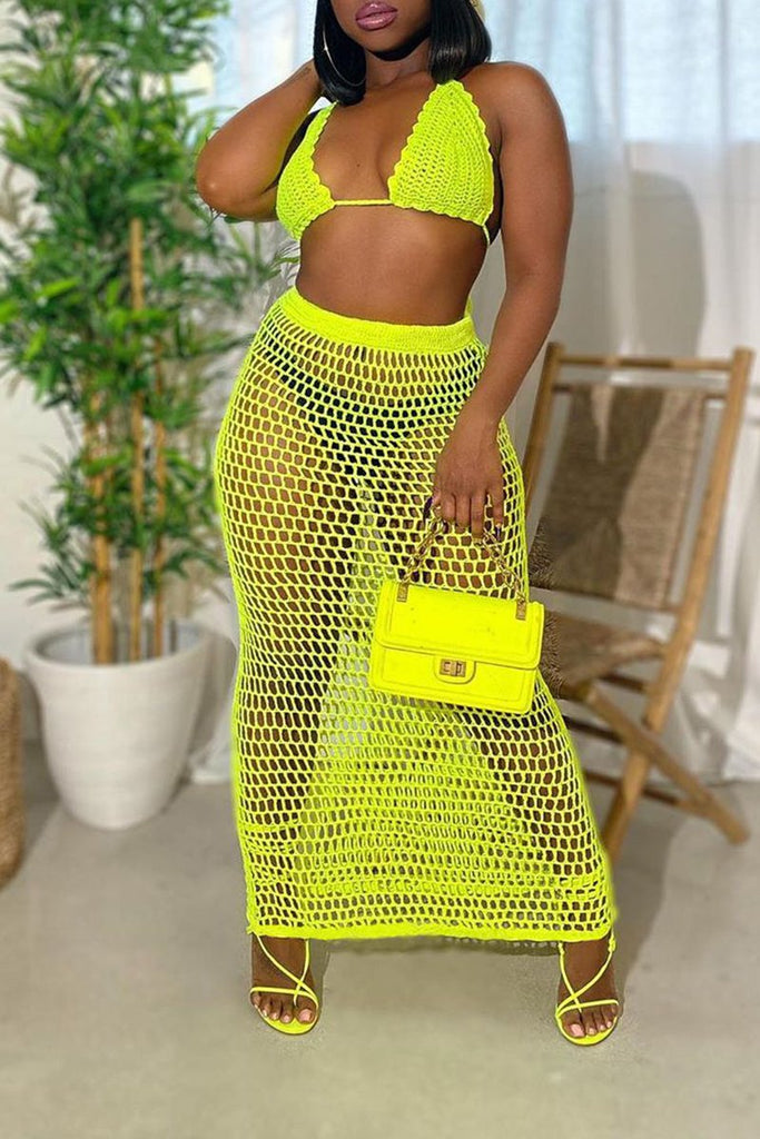 See-Through Solid Color Beach Two Piece Sets