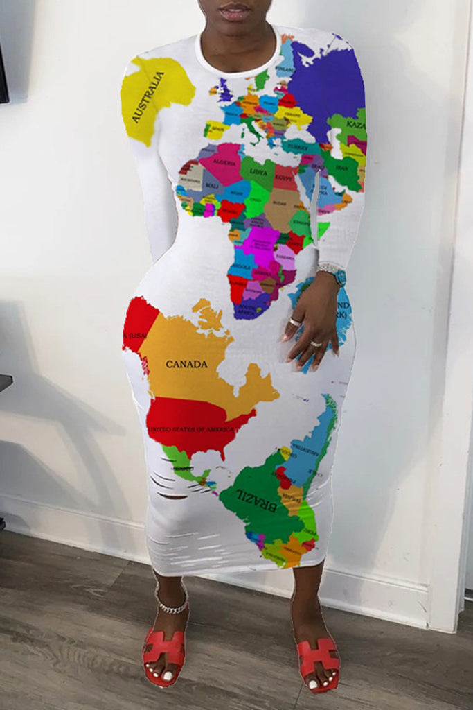 African Map Print Round Neck Distressed Midi Dress