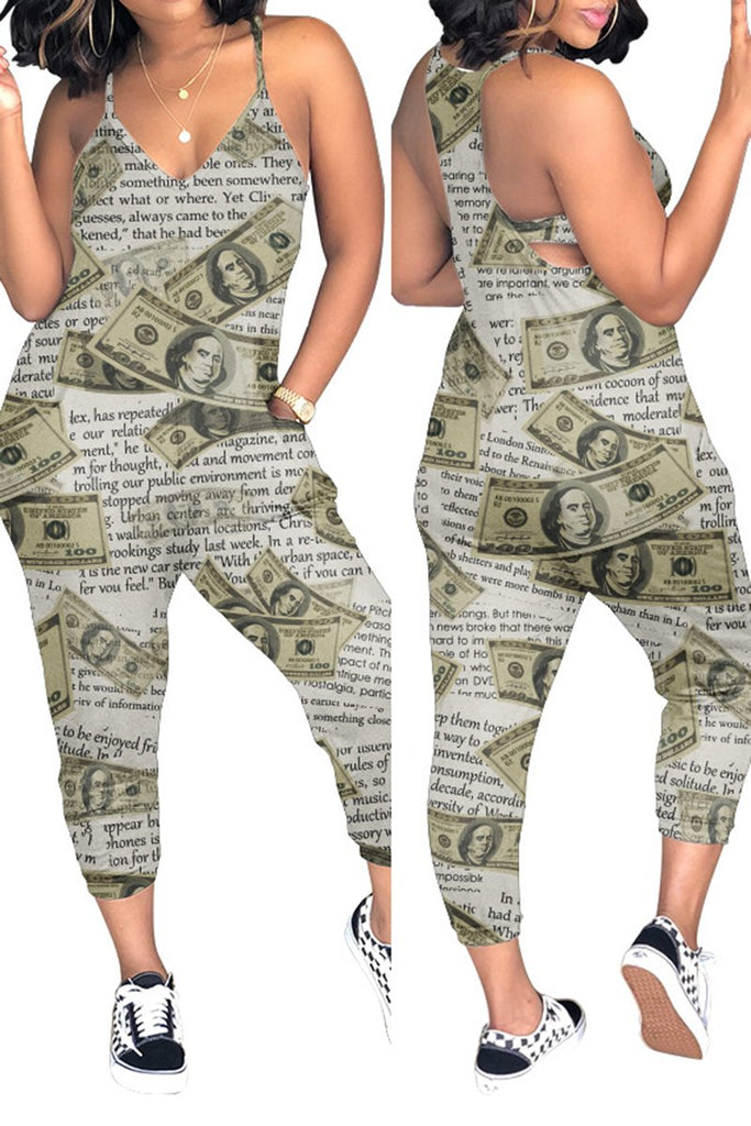 Digital Print Plus Size Pocket Jumpsuit