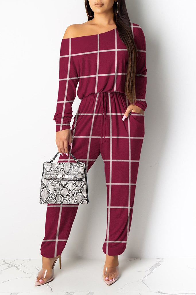 Skew Neck Drawstring Waist Pocket Jumpsuit