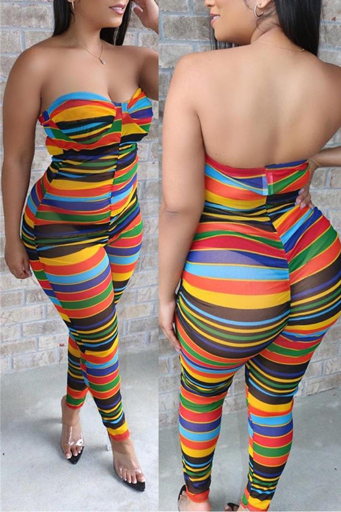 Rainbow Striped Open Back Strapped Jumpsuit