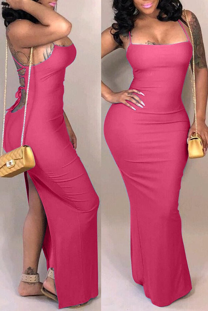 Back Bandage Solid Color Plus Size Dress