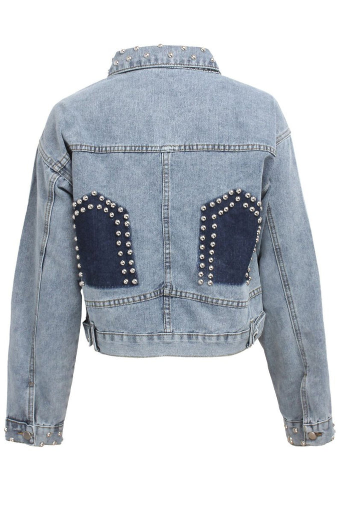 Denim Worn Out Patchwork Jacket With Beads