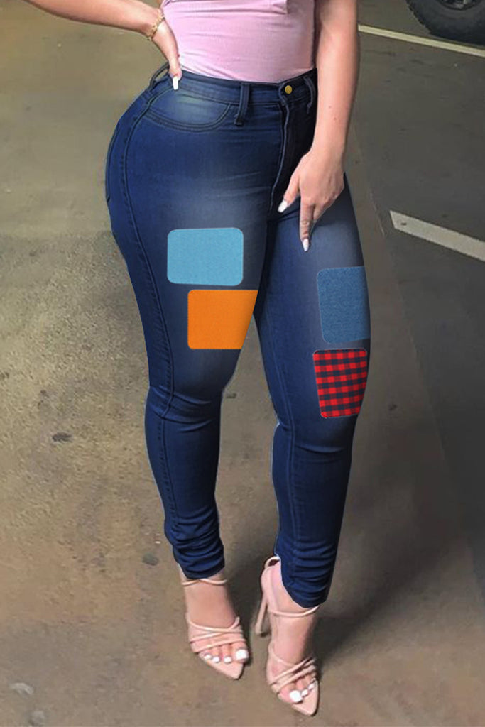 Patchwork Plus Size High Waist Jeans