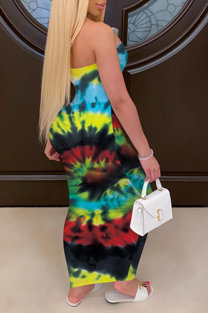 Tie Dye Strapless Open Back Maxi Dress