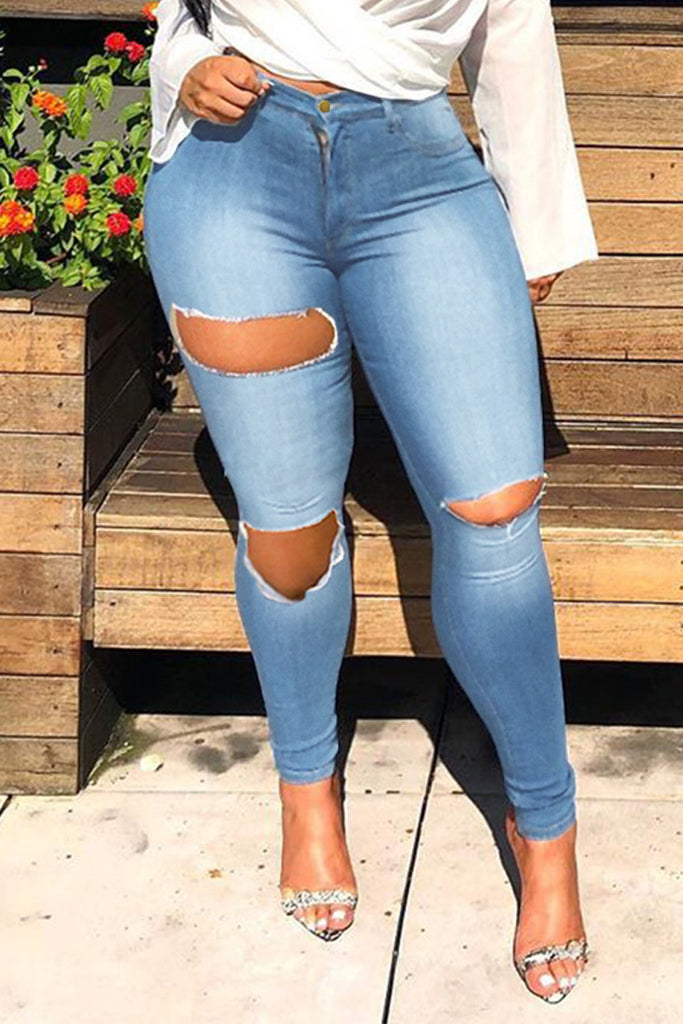 Plus Size High Waist Hole Distressed Jeans