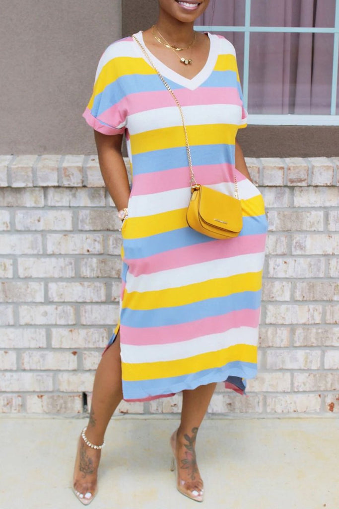 Rainbow Striped Pocket V-Neck Dress