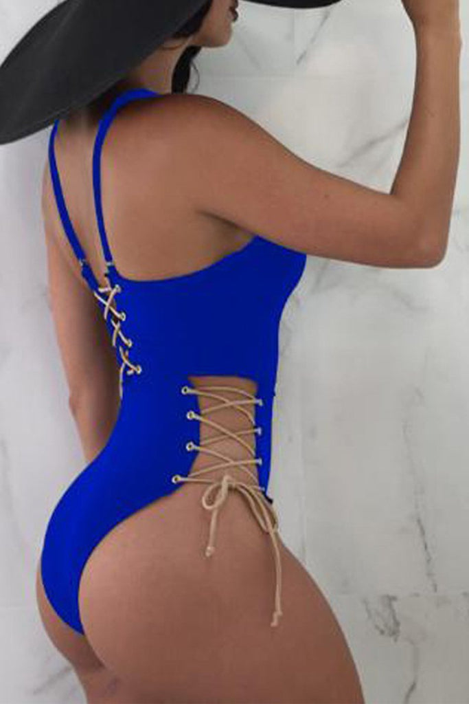 Solid Color Strapped One Piece Swimwear