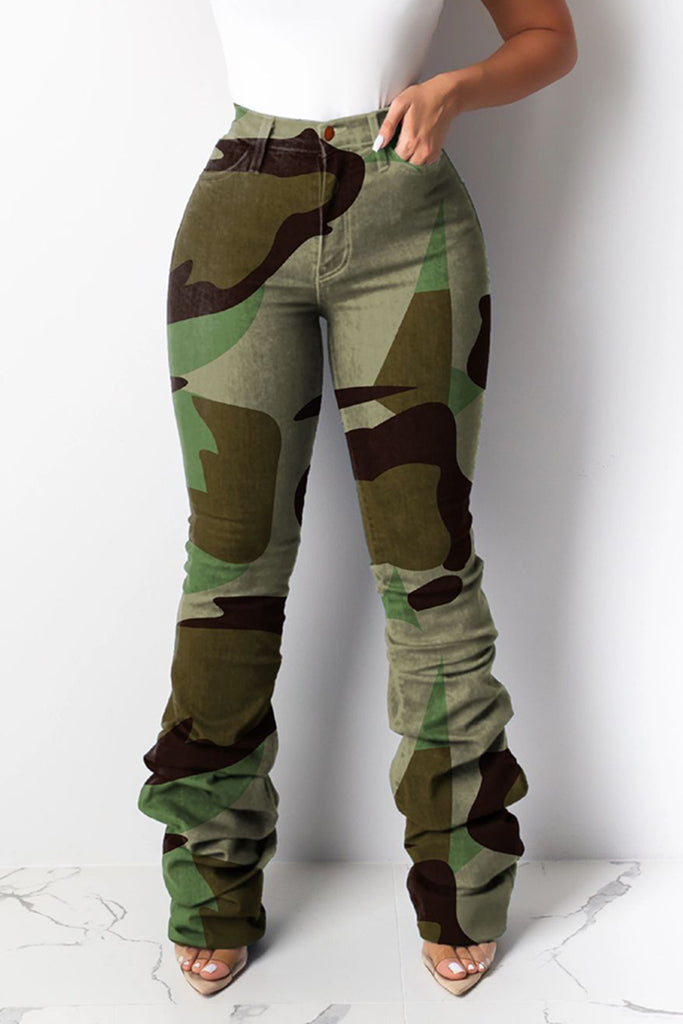 Camouflage Leopard Print Wrinkled Pants