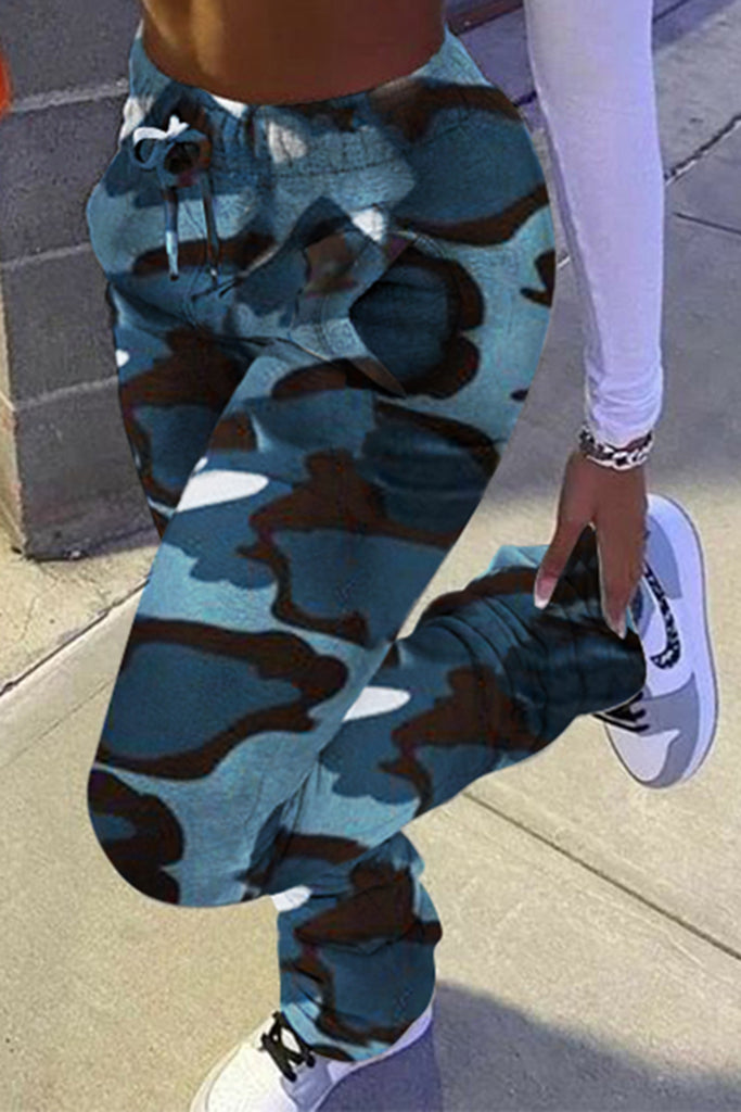 Pocket Wrinkled Camouflage Plus Size Pants