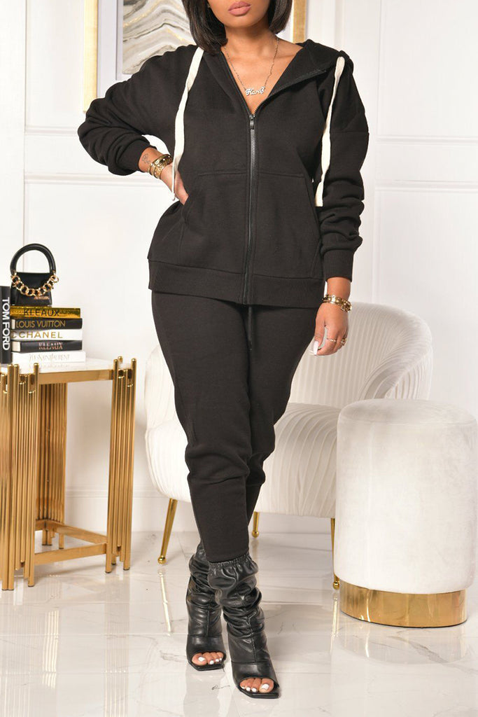 Pocket Hooded Collar Zipper Two Piece Sets