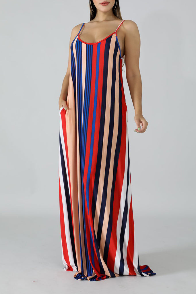 Scoop Neck Rainbow Striped Maxi Dress