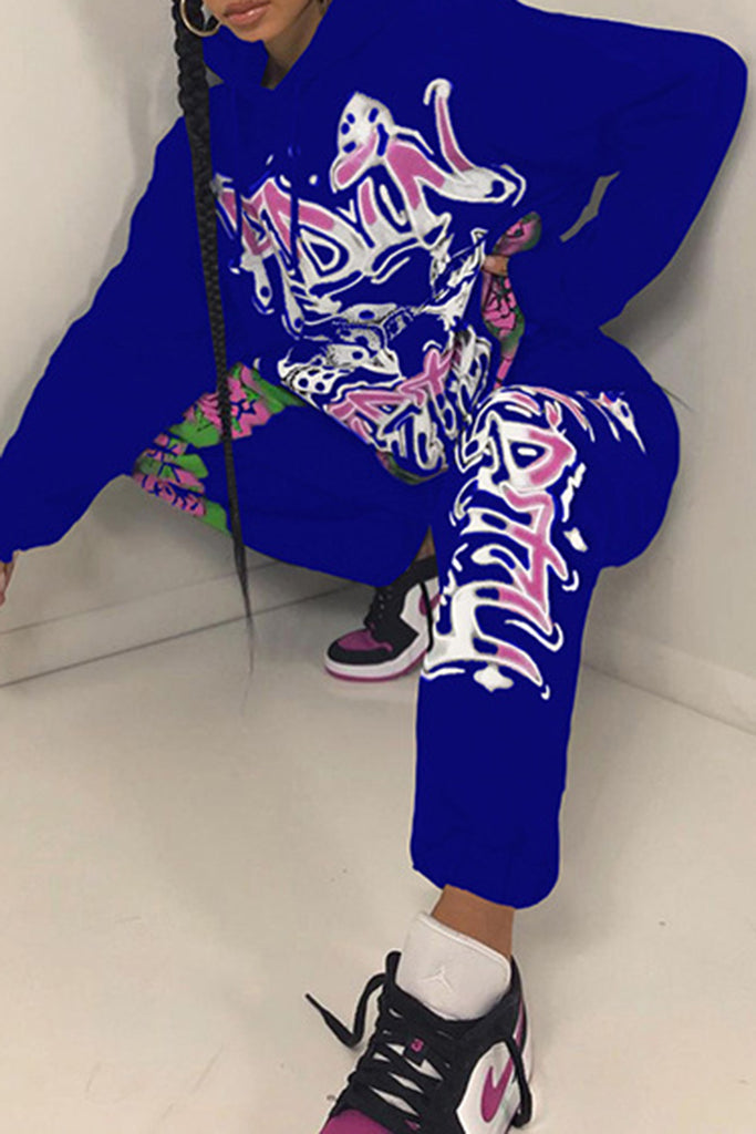 Digital Print Hooded Lace Up Solid Two Piece Sets