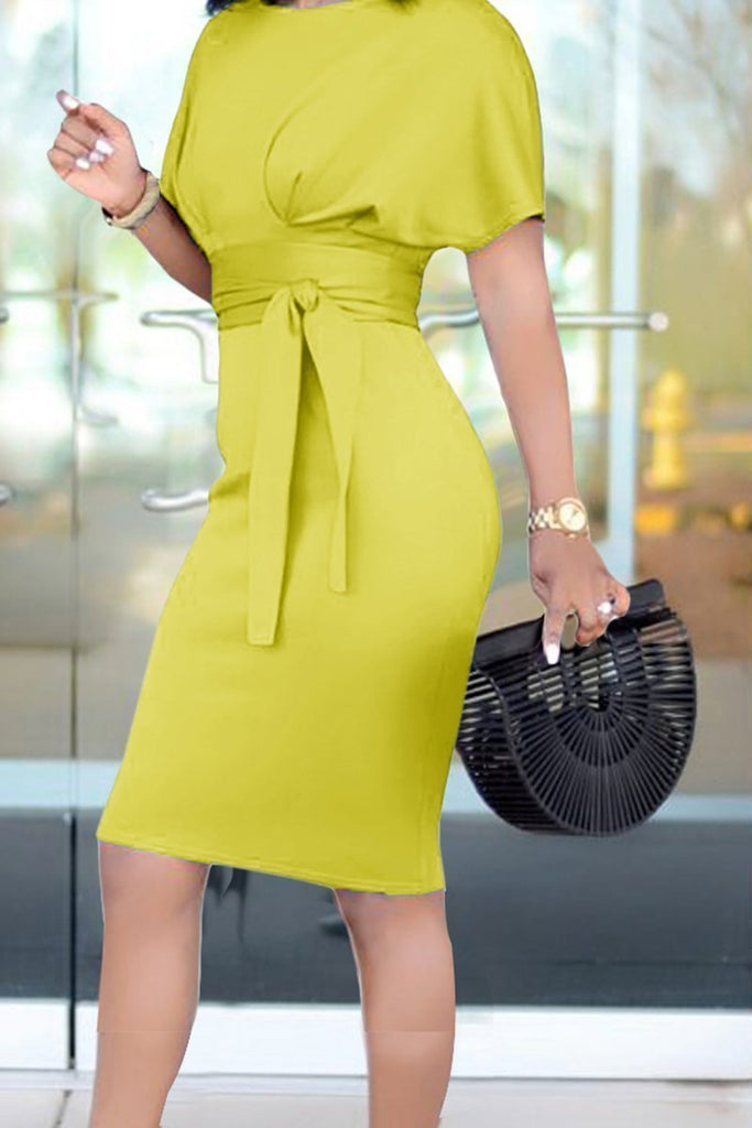 Bandage Solid Color Short Sleeve Dress - MISSINSTYLE