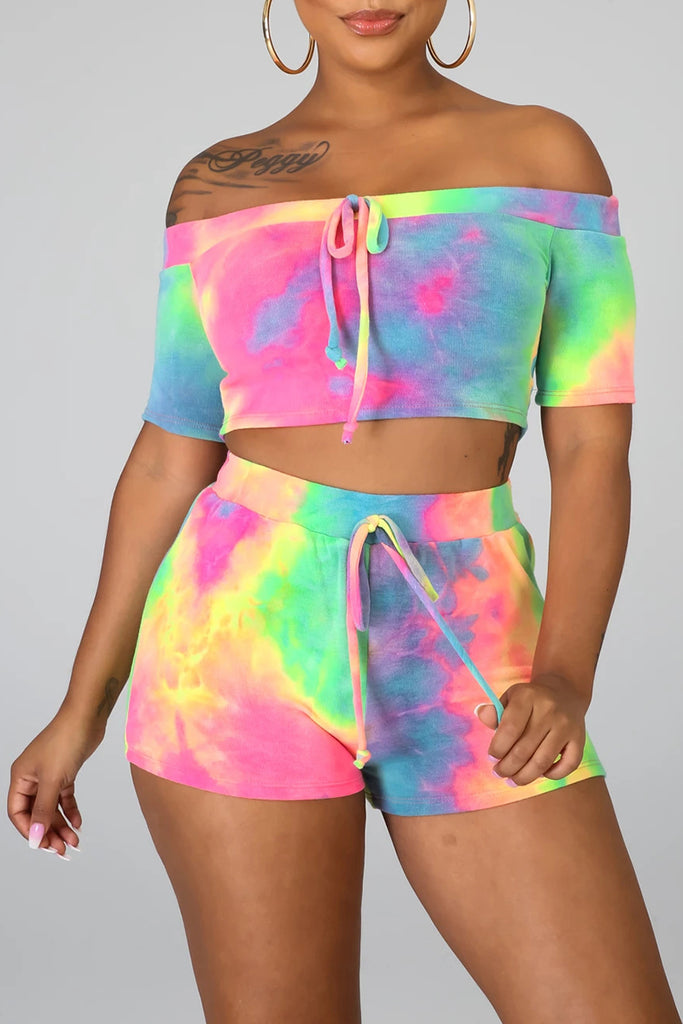 Tie Dye Off The Shoulder Top & Shorts