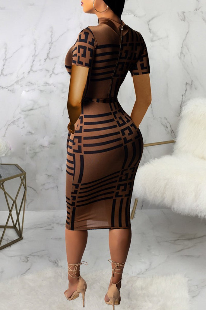 High Neck Printing Short Sleeve Zipper Belted Bodycon Midi Dress