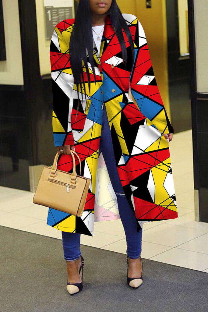 Geometric Print Wide Lapel Patchwork Coat