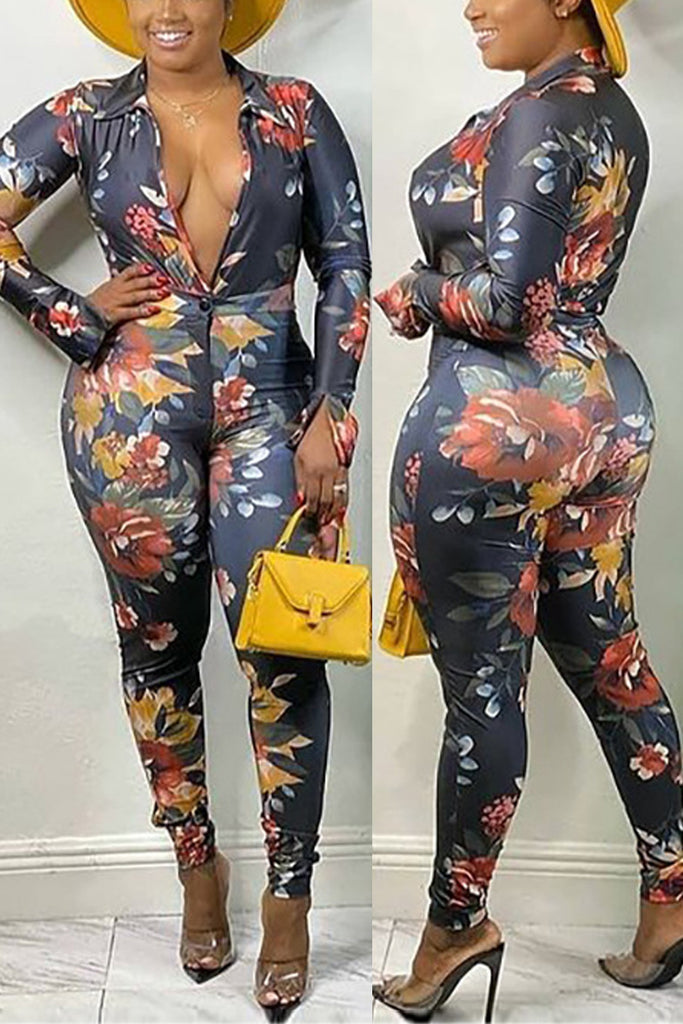 Deep V Neck Long Sleeve Bodycon Jumpsuit