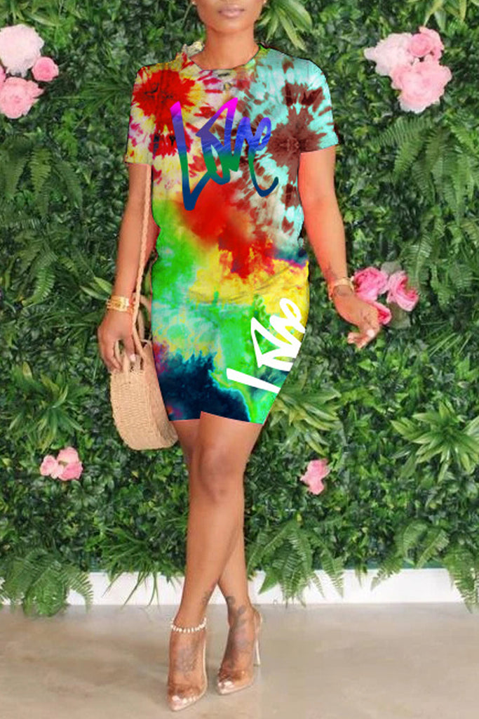 Placement Print Short Sleeve Two Piece Sets