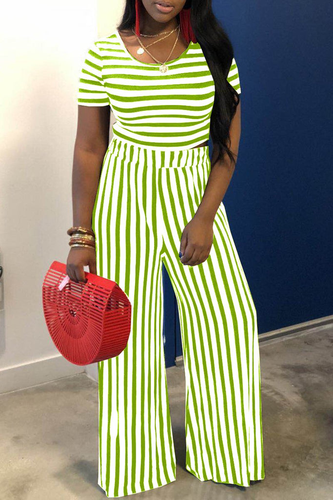 Striped Short Sleeve Top & Wide Leg Pants