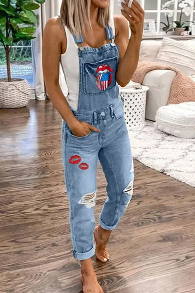 Lip Denim Distressed Plus Size Overall