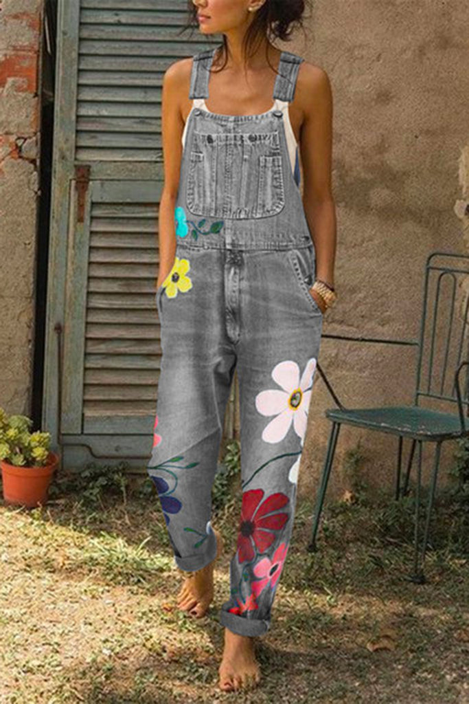 Floral Print Denim Plus Size Overall