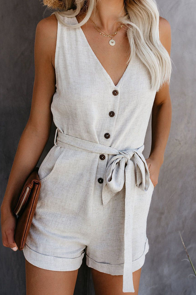 V-Neck Button Pocket Romper With Belt