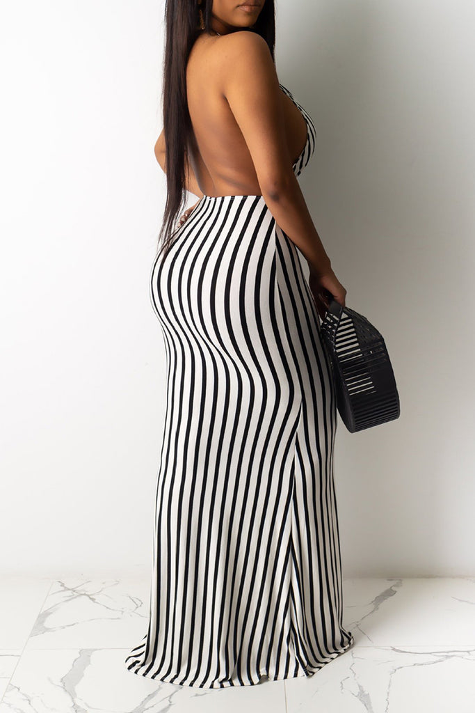 Pierced Open Back Striped Maxi Dress