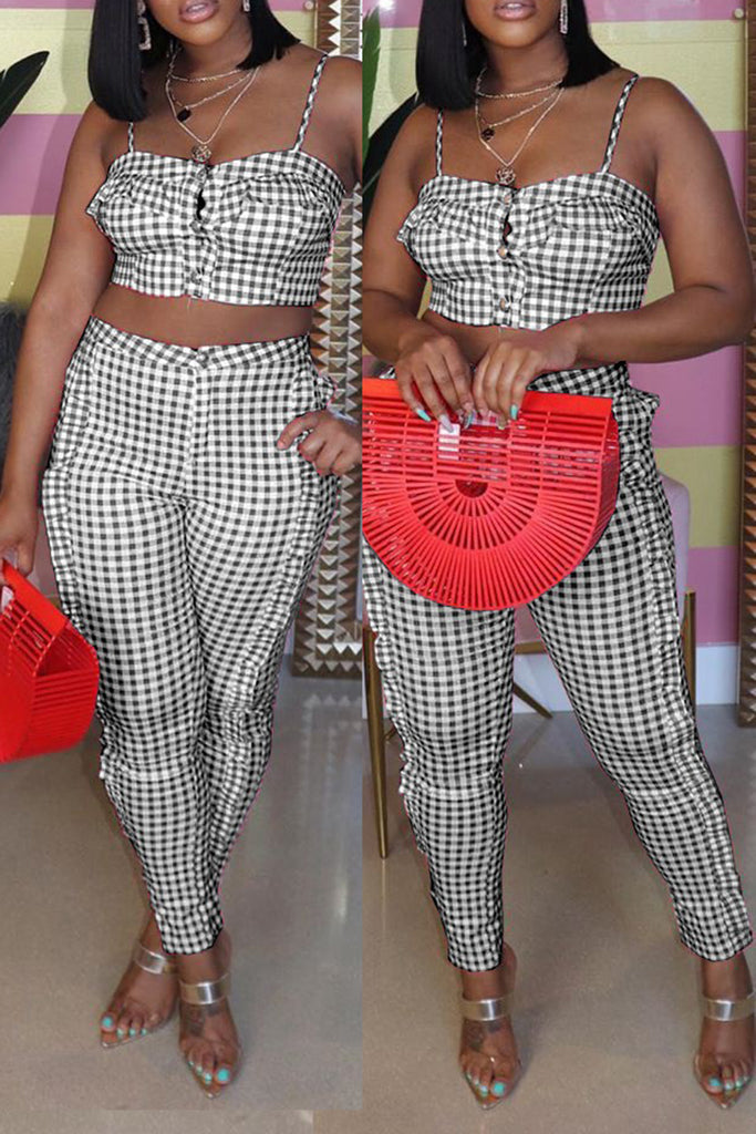 Lattice High Waist Button Top & Pants