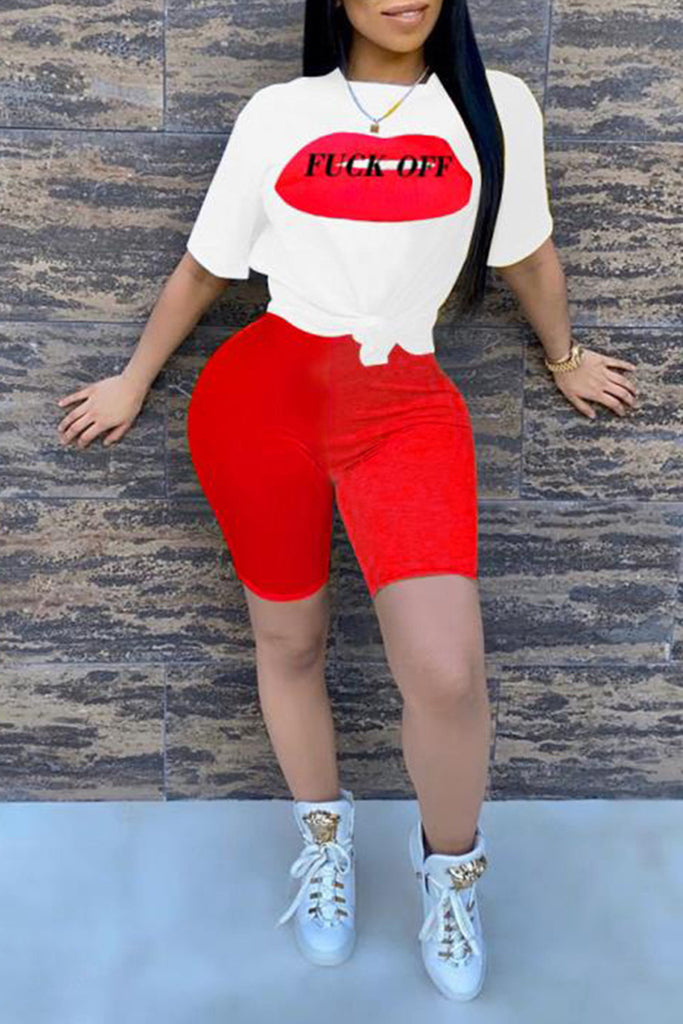 Lip Print Knotted Short Sleeve Two Piece Sets