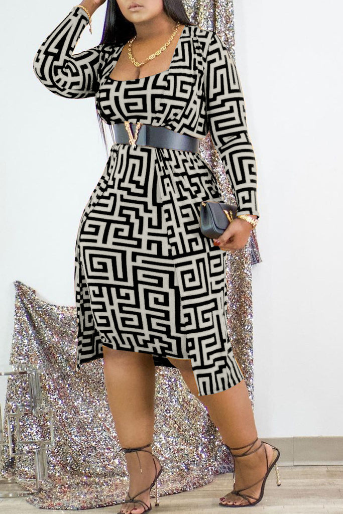 Plus Size Print Two Piece Dress Without Belt