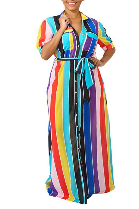 Colorful Stripe Plus Size Short Sleeve Maxi Dress