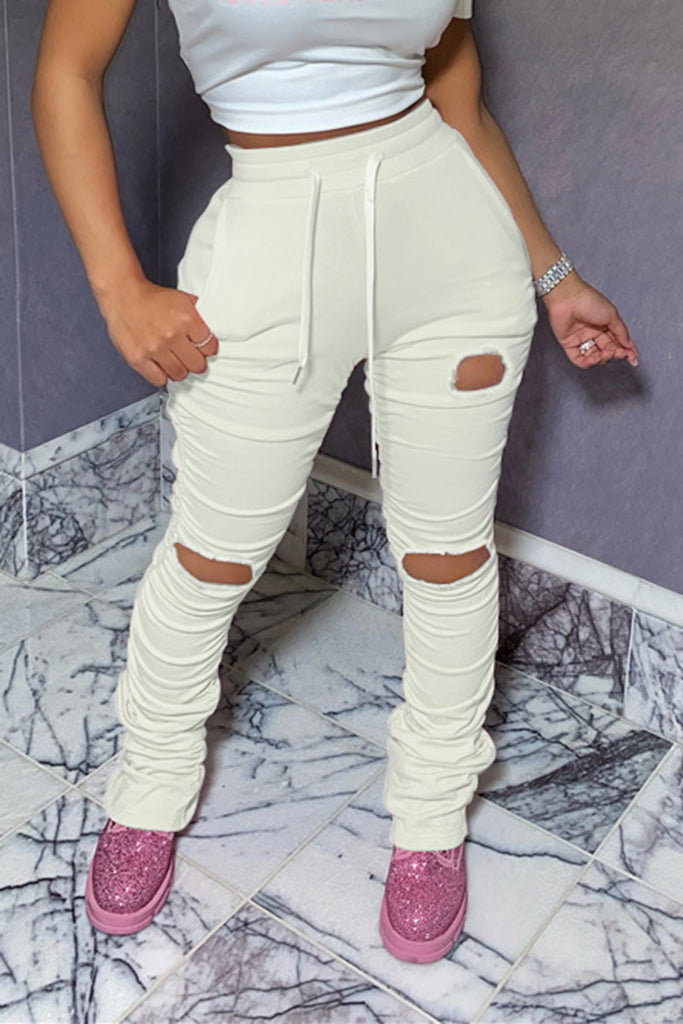 Wrinkled Distressed Drawstring Waist Pants