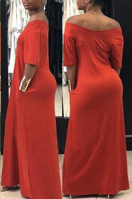 Solid Color Short Sleeve Pocket Maxi Dress