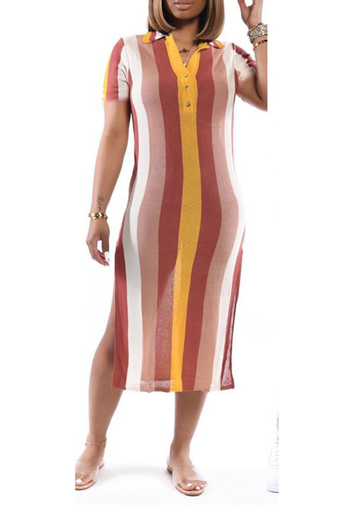 Striped Side Slit Short Sleeve Dress