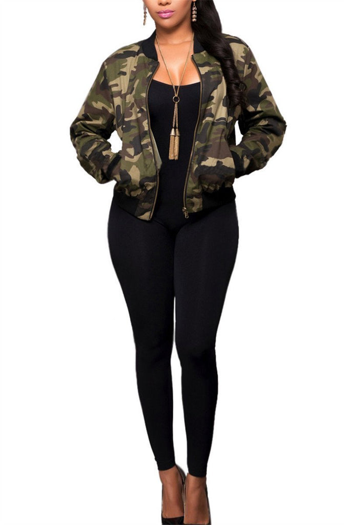 Camouflage Zip Up Long Sleeve Pocket Casual Jacket - MISSINSTYLE