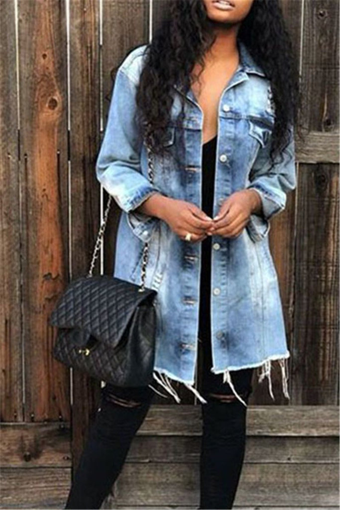 Button Up Long Sleeve Pocket Denim Coat - MISSINSTYLE