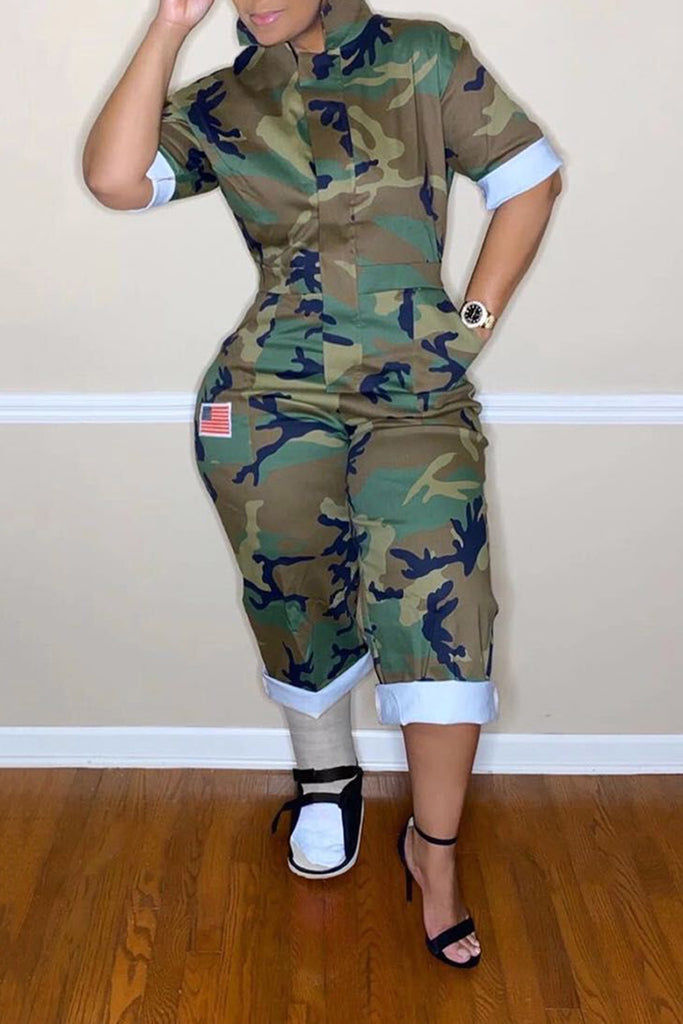 Camouflage Print Pocket Jumpsuit