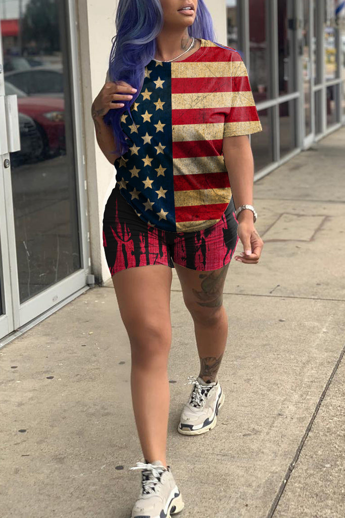 American Flag Print Short Sleeve Top & Shorts