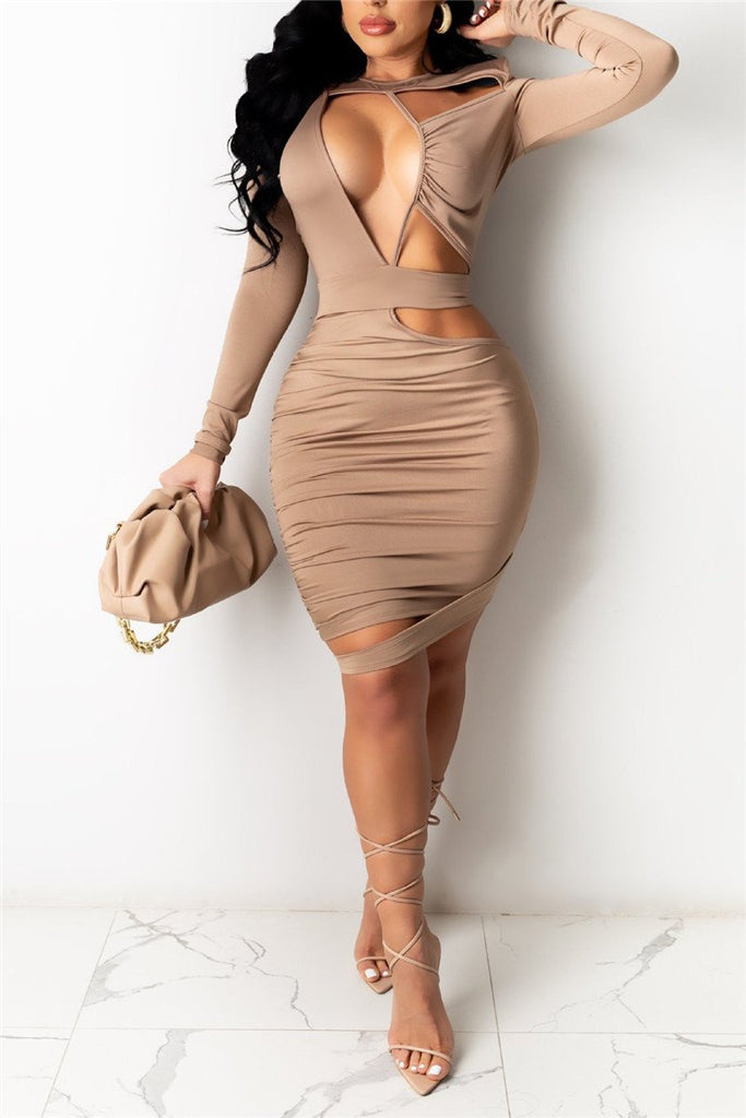 Hollow Out Solid Color Long Sleeve Sexy Dress