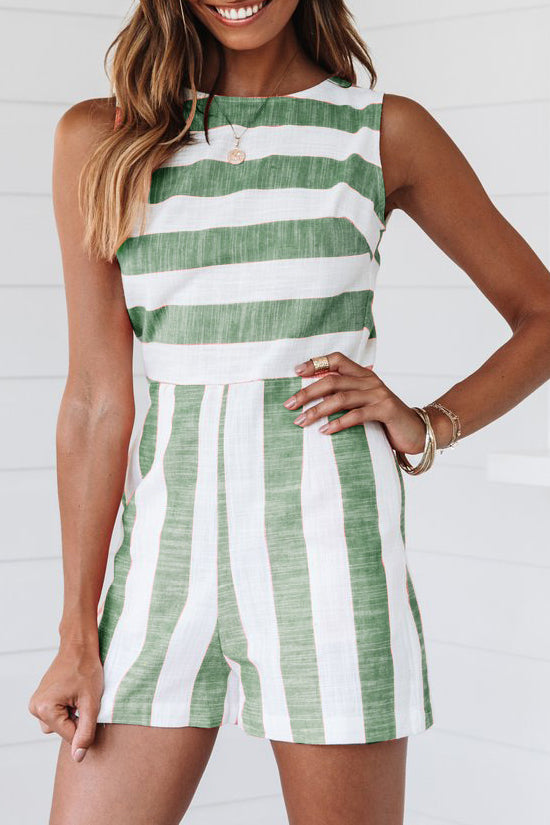 Stripe Print Sleeveless Casual Romper