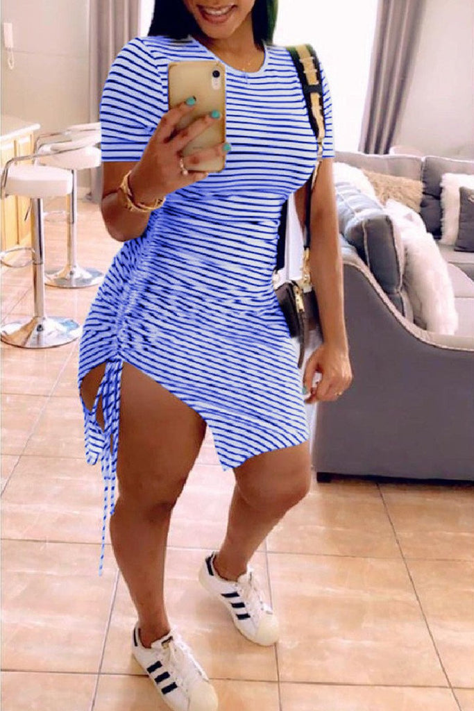 Stripe Print Short Sleeve Drawstring Dress