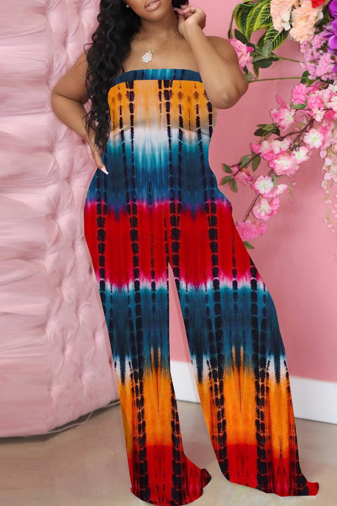 Off The Shoulder Tie Dye Wide Leg Jumpsuit