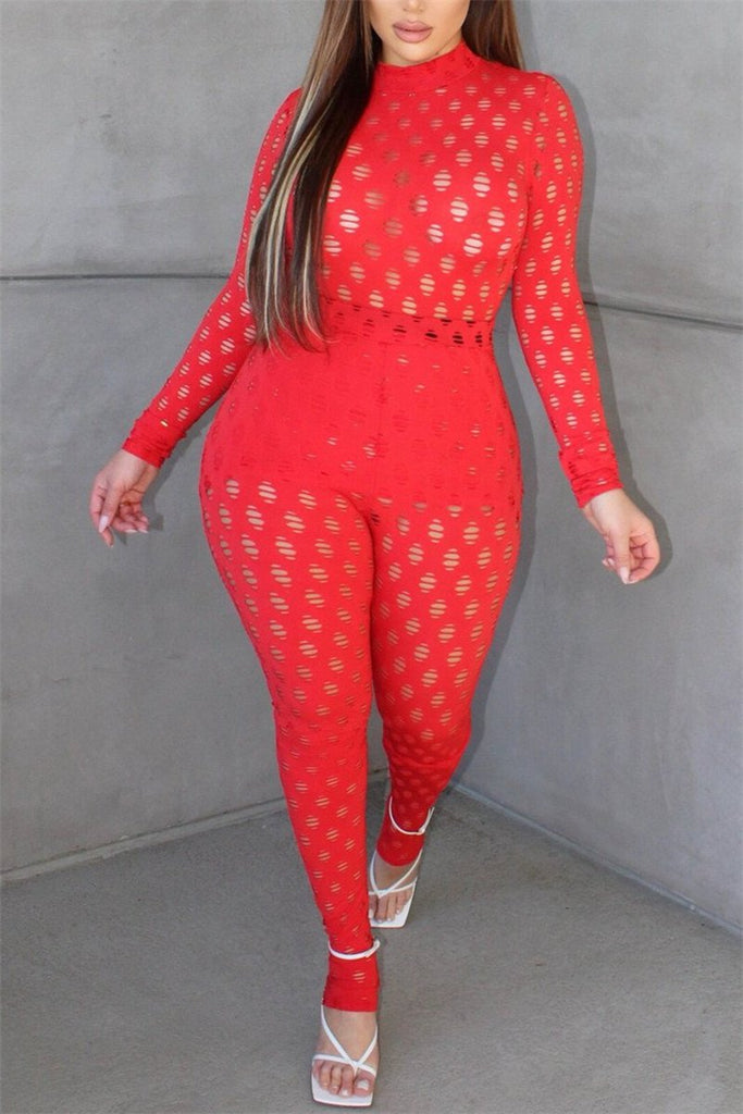 Hollow Out Long Sleeve Sexy Two Piece Sets