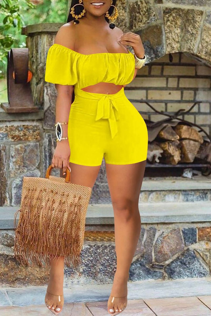 Short Sleeve Ruffle Cutout Tie Up Romper
