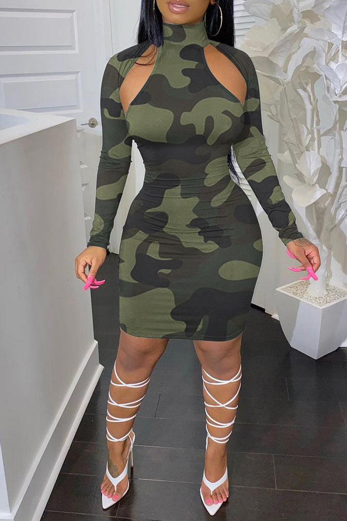Camouflage Hollow Out High Neck Mini Dress