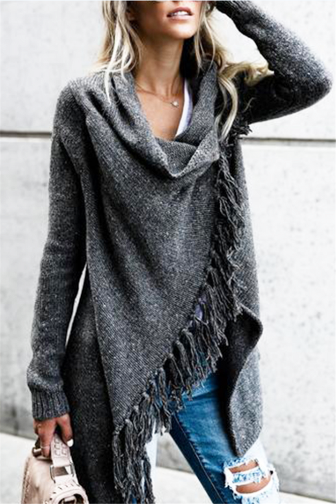 Gray Fringed Asymmetric Sweater - MISSINSTYLE